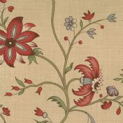 Moda French General Favorites - Bolt 5118 - Traditional Red Floral on Light Brown (Tea)  - Moda No. 13547 13 - Cotton Fabric